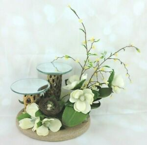 Floral Centerpiece Decoration Tabletop Candle Holder Decor by Two Feathers