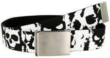 "WEB BELT 1-1/2"" WIDE BLACK WITH SKULL PRINTS & BOTTLE OPENER BUCKLE FITS TO 48"""