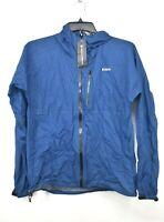 Pertex Shield Sample Jacket Womens Blue Full-Zip Waterproof Rain Hooded Jacket