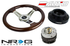 NRG 330mm Brown Wood Chrome Spoke Steering Wheel + 101H Hub 2.0 SL Quick Release