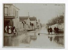 PHOTO ANCIENNE Inondations à Paris 1910 Rue Barque Enfants Banc Tirage vintage