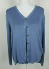 Coldwater Creek Womens Sweater Set Silk Blend Blue (Cardigan M) (Sleeveless S)