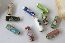 50Pcs Mixed Color Cloisonne Enamel Floral Tube Beads E414