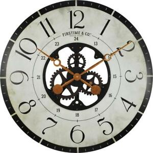 Oversized 27 Inch Multi-Color Carlisle Gears Wall Clock Large Room Home Decor