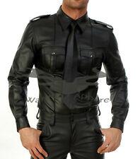 Mens Hot Genuine Real Black Sheep/Lamb LEATHER Police Uniform Shirt BLUF Gay