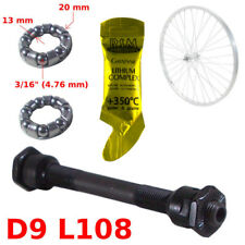 SET FRONT HOLLOW AXLE 9 x 108 MM + BALL BEARING + GREASE HUB BIKE WHEEL VINTAGE