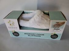 Women's White Memory Foam Slippers Sz. Sm 5-6 Order Home Collection