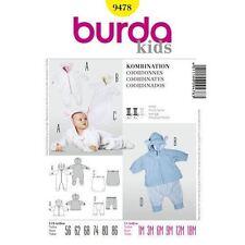 Burda Sewing Pattern 9478 Size1M-18M Baby Jumpsuit,Hooded Jacket,Foot Muff,Pants
