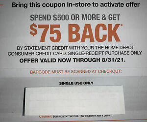 Home Depot Coupon $75 Credit Off $500 In-Store Purchase, Must Use Credit Card