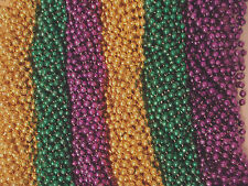 72 Purple Green Gold Mardi Gras Gra Beads Necklaces Party Favors 6 Dozen Lot
