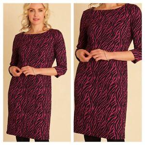 Pomodoro size 20 black pink animal zebra print shift DRESS day to evening £76