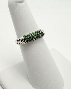 David Yurman Candy Cable Metro Sterling Silver Emerald Ring (5832)