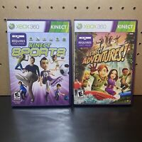 Xbox 360 Kinect Sports and Kinect Adventures! Games Lot of 2 - Tested
