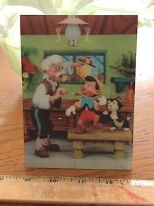 Vintage Old DISNEY W.C. JONES 3D LENTICULAR PINOCCHIO Postcard Rare Large 1966