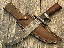 "Ash D678 damascus steel custom handmade hunting bowie knife 13"""
