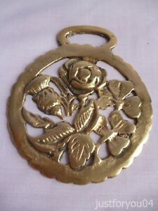 Solid Vintage Horse Brass - Rose, Thistle Shamrock  Design