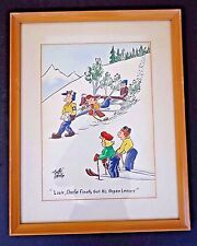 """2 Rare """"Snuffy"""" O'Neil signed orig watercolors/caricatures framed 1947 INV 2617"""