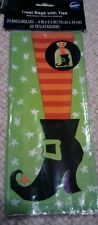 New Wilton Halloween Fall Witch's Leg Party Loot Treat Bag Sacks 20ct with ties