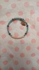 Alex & Ani Uncharted Voyage Blue Sea Glass Bead Gold Bangle Bracelet Wrap Rare