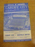 23/08/1961 Cardiff City v Sheffield United  (folded, creased, marked). Thanks fo