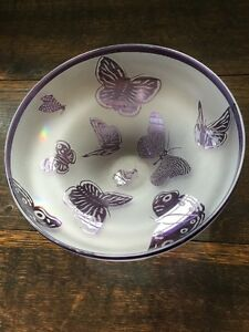 """PURPLE BUTTERFLY BOWL 9""""DIAMETER 4""""HT 1999 LIMITED 49/500 BE8469 with BUTTERFLY"""