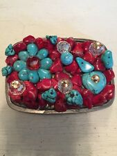 Turquoise Colored Beads Belt Buckle Made In China Lots of Beads Covering