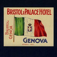 "Bristol & palace hotel Genova Italy Old juge luggage label valise autocollant ""s"""