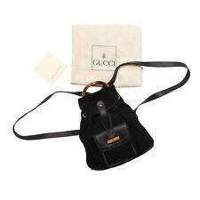 Gucci Backpack Black Suede Bamboo Vintage Mini Bag