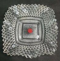 "VTG Mid Century Modern Heavy Crystal Clear Glass 6.5"" Square Ashtray Designer"
