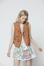 $1,575.00 Mira Mikati Women's Brown Suede Embroidered Sleeveless Jacket 38 US 6