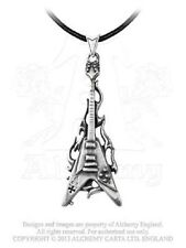 Alchemy Flaming V Guitar Pewter Pendant Necklace Music Flames Goth Gothic Punk