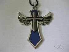 Blue Wing Cross Chain Necklace