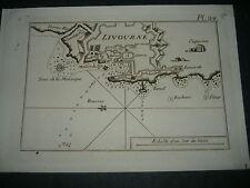 1764 ROUX ACQUAFORTE PIANTA DI LIVORNO LIVOURNE TOSCANA