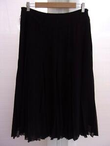 Coast Women's Black Lined Pleat Chiffon Midi Length Smart Occasion Skirt Size 12
