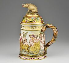 19th c. antique CAPODIMONTE porcelain beer stein, tankard , lidded, boar, gilt