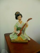 VINTAGE PORCELAIN FIGURINE, PRETTY JAPANESE GEISHA GIRL PLAYING KOTO INSTRUMENT