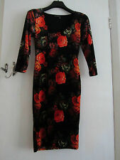 Black & Orange Floral Velvet Stretch Bodycon Miss Selfridge Dress Size 8 - 10