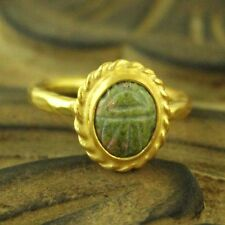 Handmade Hammered Designer Carved Green Jade Ring 24K Gold Over Sterling Silver