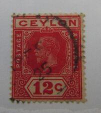 1925 Ceylon SC #234a KGV Die 1  12 cent used stamp