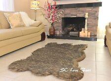 "58x72""  Black Tip Gray Coyote Plush Fur Rug Bearskin Home Accents Rug Decor"