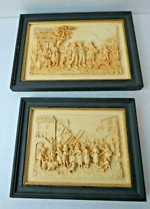 1940s COUNTRY FRENCH Detailed Relief Framed Wall Decor Village & Market Scene