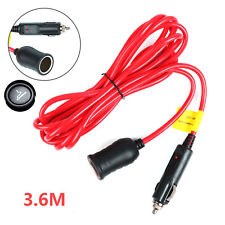 12V 3.6M Car Cigarette Lighter Extension Cable Lead Charger Power Socket Adapter