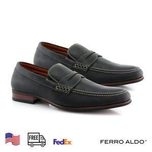 Ferro Aldo Black Classic Casual Slippers Men's Loafers & Slip-Ons Dress Shoes
