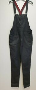 WOMENS FOREVER 21 BLACK OILY SKINNY STRETCH DUNGAREES UK S 8 W27 L30