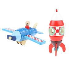 2x Kids Magnetic Vintage Plane Helicopter Wooden Montessori Toys Play Games
