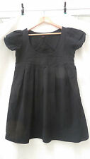 MAJE: Robe babydoll noire, 100% coton, manches ballons, taille 2