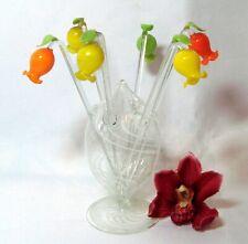 alter Lauscha Glas Ständer Glockenblumen Bowlespieße Cocktail Spieße / dj 491
