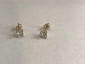 .50 CARAT  14K SOLID YELLOW GOLD STUD EARRINGS W/ PRINCESS FLAWLESS LAB DIAMONDS