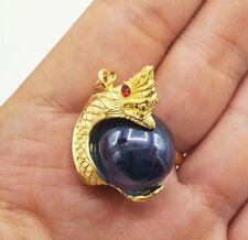 GOLD THAI NAGA AMULET PENDANT BRASS RED EYE BLUE BALL ROPE MAGIC GEM STONE LUCKY