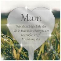 PERSONALISED Heart Plaque In Memory Mirror Acrylic Grave Side Mum Dad Nanny Love